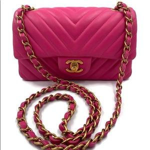 Authentic Chanel chevron mini rectangular flap